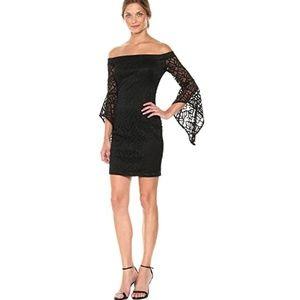 Bebe Little Black Dress Lace Bell sleeves